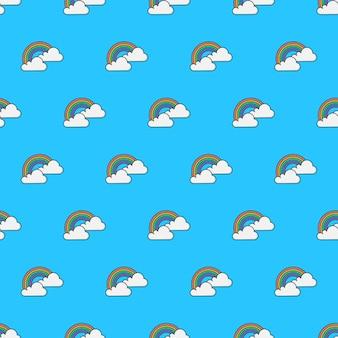 雲と虹のシームレスなパターン。天気現象のテーマイラスト