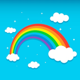 Rainbow with clouds and stars