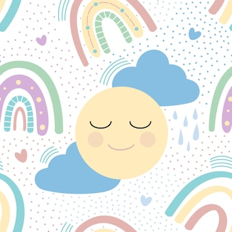 Rainbow with clouds, sun and hearts seamless pattern. vector illustration
