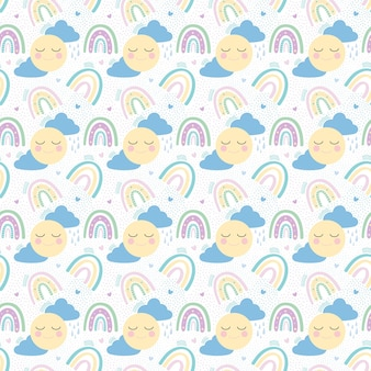 Rainbow with clouds, sun and hearts seamless pattern.vector illustration