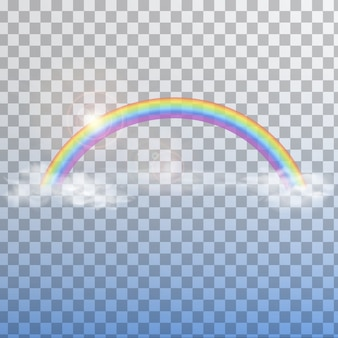 Rainbow with clouds on transparent background isolated.