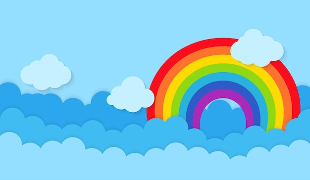 Rainbow with clouds vector illustration Premium Vector