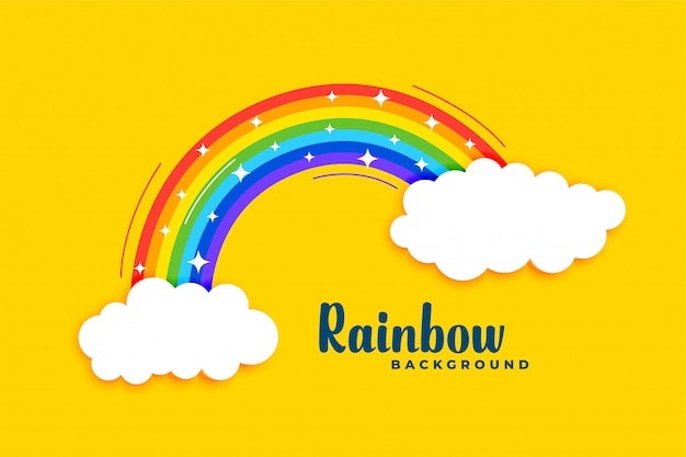 Rainbow with clouds on yellow background