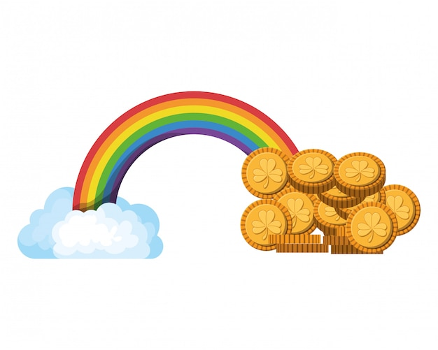 Rainbow with coins isolated icon