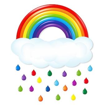 Радуга с цветным дождем с иллюстрацией градиентной сетки