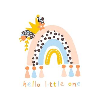 Rainbow with crown nursery cute childish boho scandinavian poster