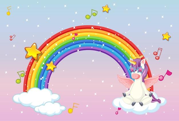 Rainbow with cute unicorn or pegasus on pastel sky