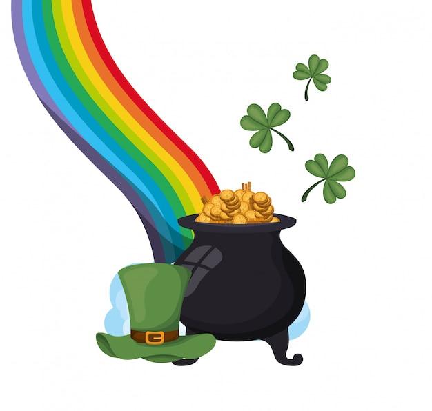 Rainbow with leprechaun cauldron isolated icon