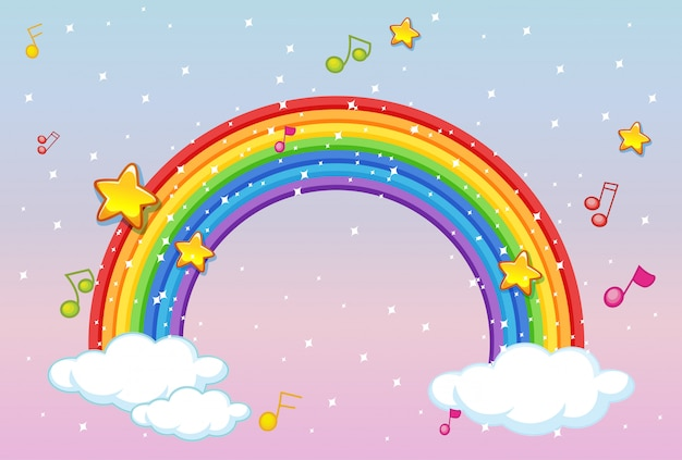 Rainbow with music theme and glitter on pastel sky background