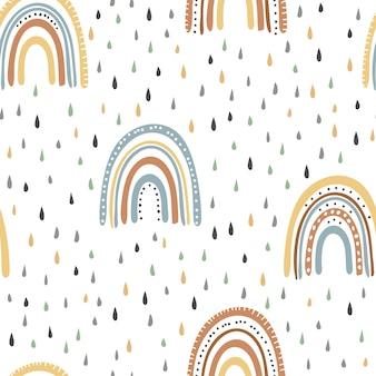 Rainbow with rain. pastel colors, boho style. seamless patterns.