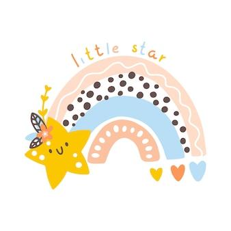 Rainbow with a star nursery boho poster