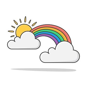 무지개와 태양과 구름 흰색 절연