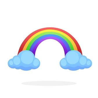 白い背景で隔離の雲と2つの雲と虹ベクトル図