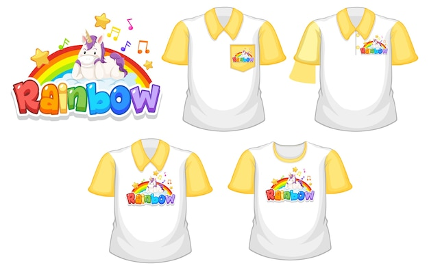 Rainbow with unicorn logo and set of different white shirt with yellow short sleeves isolated on white background