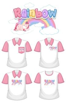 Arcobaleno con logo unicorno e set di diverse camicie bianche con maniche corte rosa isolate su bianco