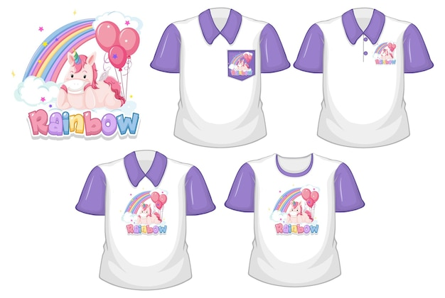 Rainbow with unicorn logo and set of different white shirts with purple short sleeves isolated on white background