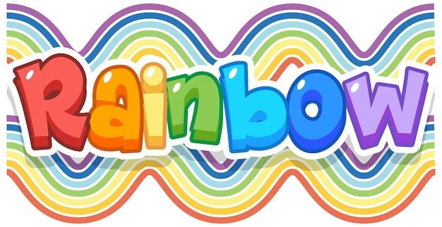 Rainbow word logo on rainbow wave background