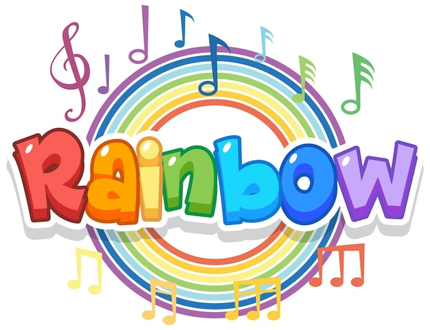 Logo della parola arcobaleno sull'arcobaleno rotondo