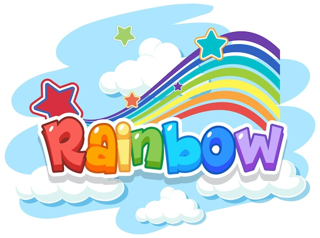 Rainbow word logo in the sky