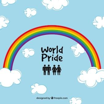 Rainbow world cloud and rainbow background