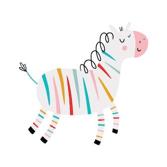 무지개 얼룩말 얼룩말 플랫 손으로 그린 포스터 어린이와 아기 패션을위한 만화 캐릭터