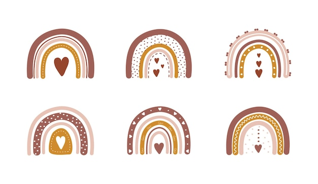 Rainbows in boho style with hearts. bohemian illustrations for holidays.