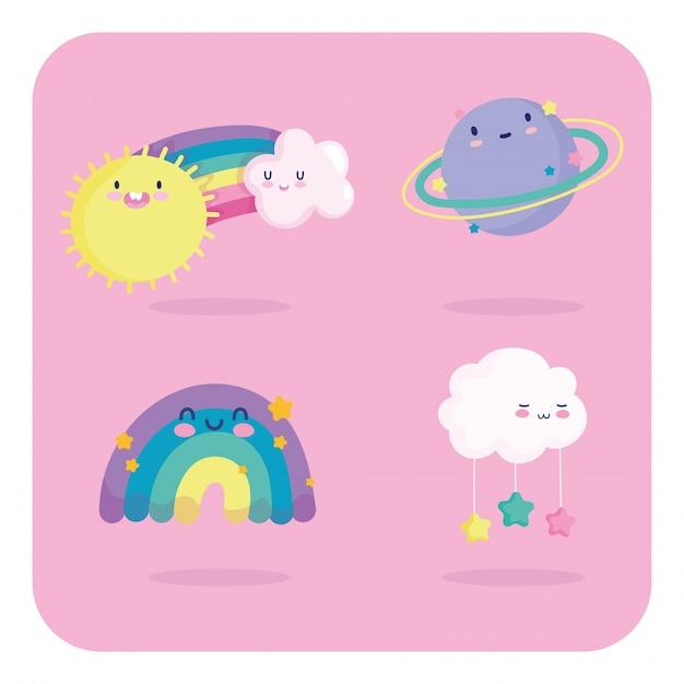 虹雲吊り星惑星太陽空漫画装飾ベクトルイラスト