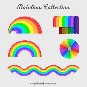 Rainbows collection with different shapes in flat syle