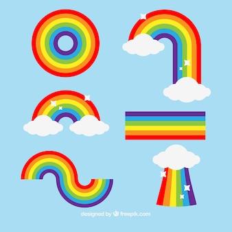 Коллекция радуг с различными формами в плоском сале