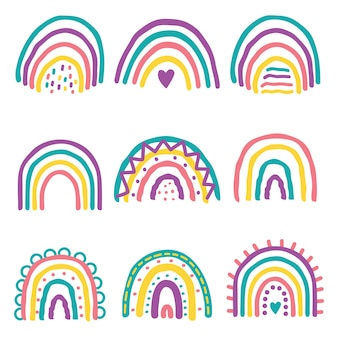Rainbows and doodles collection, colorful trendy rainbows vector illustrations isolated on white background