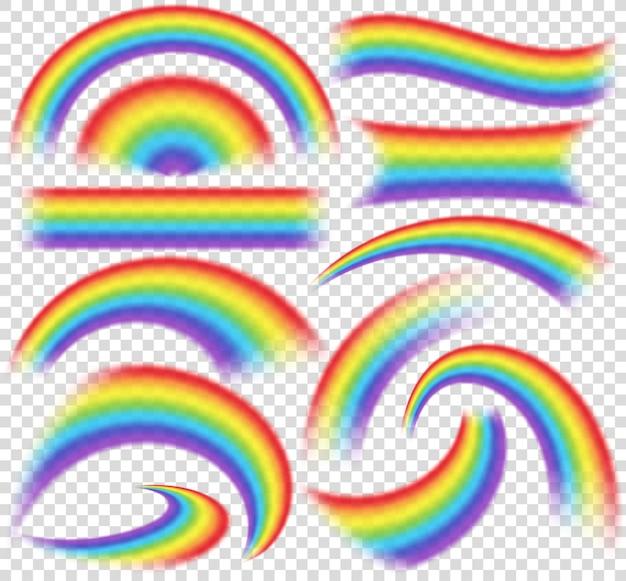 さまざまな形の現実的なセットの虹