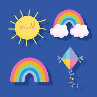Rainbows kite and sun icons vector illustration