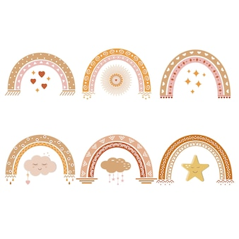 Rainbows with a boho pattern, vector illustration