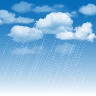 Rainclouds and rain in the blue sky