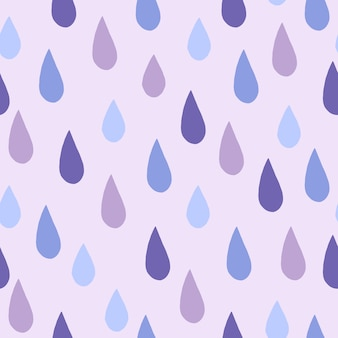 Raindrops doodle seamless pattern on light grey background.