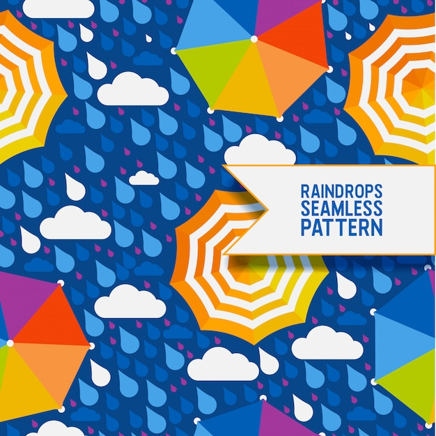 Raindrops and umbrella seamless pattern