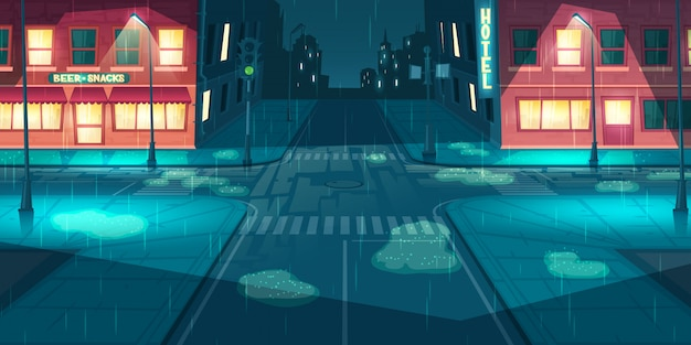 Rainfall on city, town street cartoon vector