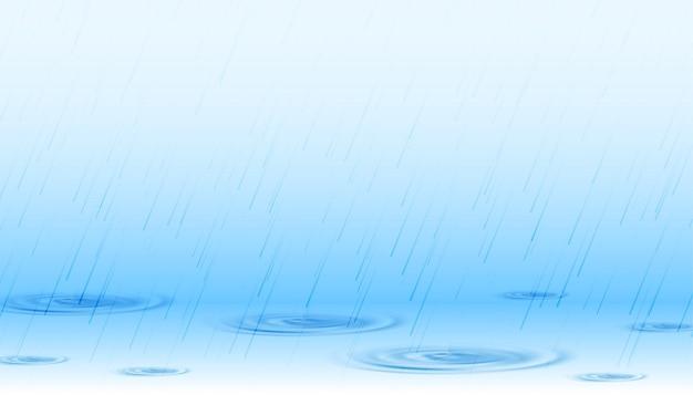 波紋の背景を持つ表面の降雨