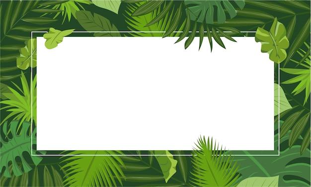 Rainforest concept frame background, cartoon style
