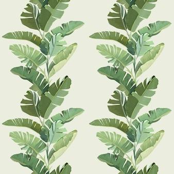 Орнамент декоративных обоев тропического леса с зелеными тропическими банановыми пальмовыми листьями и ветвями. бесшовный узор, ботанический тропический принт на бежевом фоне. бумага, текстильный дизайн. векторные иллюстрации