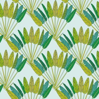 Орнамент декоративных обоев тропического леса с зелеными тропическими пальмовыми листьями и ветвями. геометрический бесшовный образец, ботанический тропический принт на синем фоне. бумага, текстильный дизайн. векторные иллюстрации
