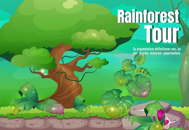 熱帯雨林ツアーポスターフラットテンプレート。野生の熱帯の自然を探索してください。エキゾチックな森への旅。パンフレット、小冊子1ページのコンセプトデザインと漫画のキャラクター。ジャングルチラシ、リーフレット