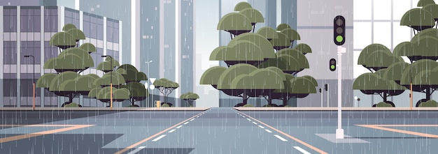 Raining empty street road with crossroad and traffic light city buildings skyline modern architecture cityscape