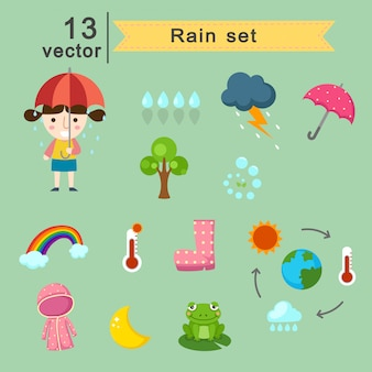 Raining set vector