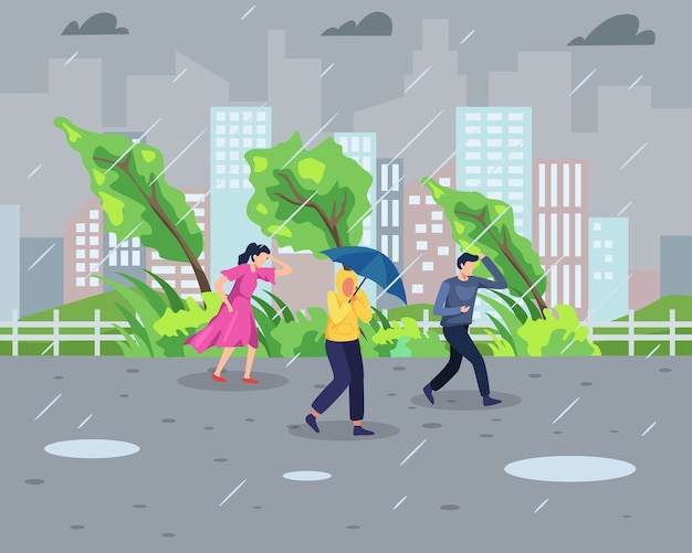 Rainstorm concept. people walk during rainstorm with cityscape background. natural disaster and extreme weather concept. in a flat style