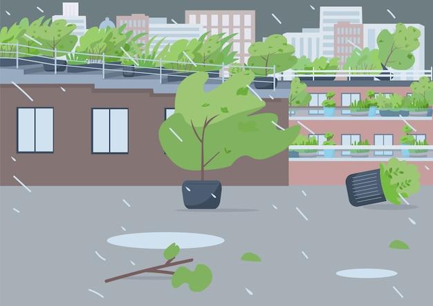 Дождь плоская цветная иллюстрация