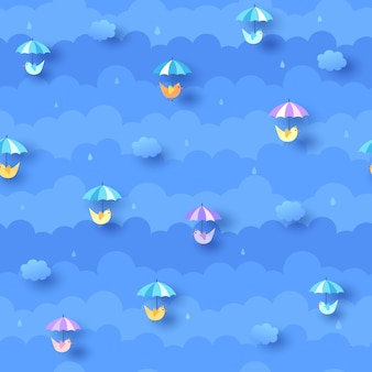 Rainy blue pattern with cloud and umbrella birds