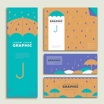 비오는 날 배너 템플릿 디자인 사랑스러운 우산 세트