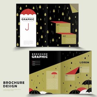 Rainy day bi-fold brochure template design with lovely umbrella