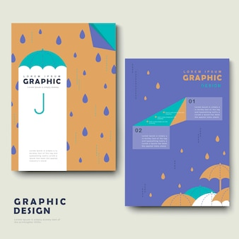 Rainy day brochure template design with lovely umbrella